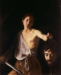 DAVID AND GOLIATH by Caravaggio.  The head of Goliath is a self portrait.