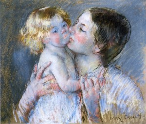 A Kiss for Baby Anne - by Mary Cassatt 1844-1926