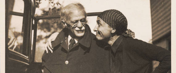 In this photo provided by Alfred Stieglitz/Georgia O'Keeffe archive, Portrait with Georgia O'Keeffe and Alfred Stieglitz by automobile at Lake George, N.Y.  National Gallery of Art photography curator Sarah Greenough leafed through 25,000 pieces of paper exchanged by Georgia O'Keeffe and Alfred Stieglitz to produce My Faraway One: The Letters of Georgia O'Keeffe and Alfred Stieglitz, Volume I, 1915-1933,  an 800-page tome as big as the Chicago phone book. Despite its girth, the book represents just one-tenth of their correspondence during this period.  (AP Photo/Alfred Stieglitz/Georgia O'Keeffe archive, Albuquerque Journal)  NO SALES