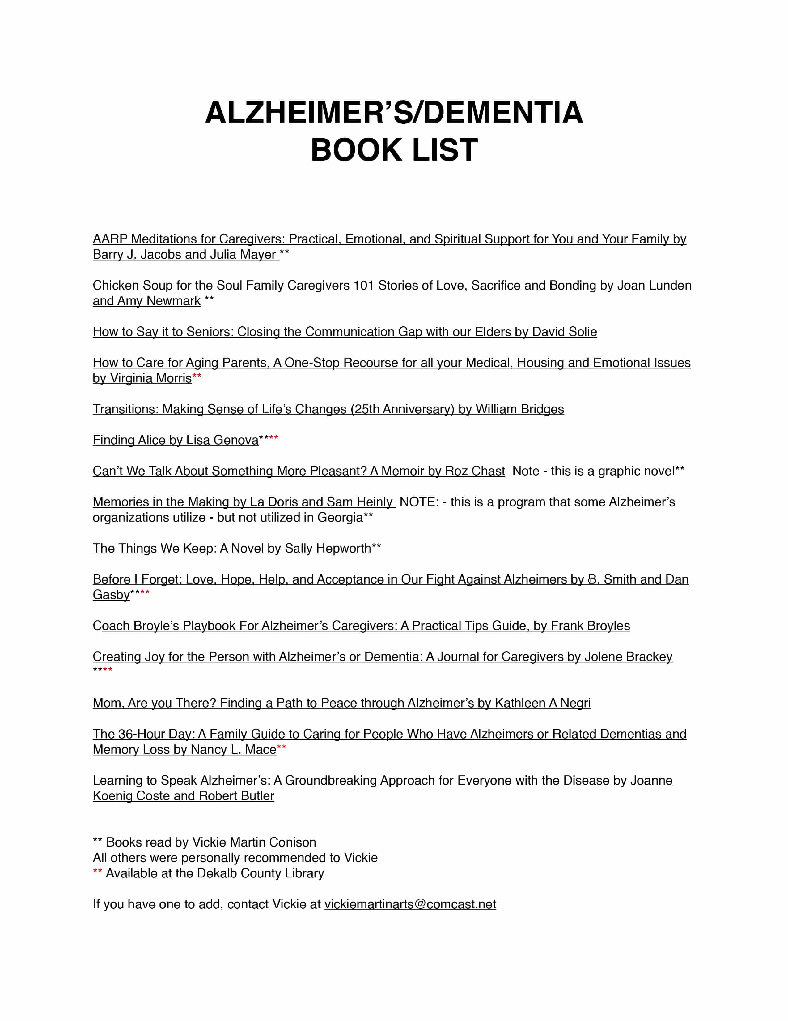 I Am In An Alzheimers Support Group, So I Put Together A Reading List For  Them